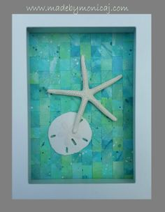 Beach House Wall Decor 6x8.  Emerald Seas.  Starfish and sand dollar displayed on woven hand painted paper.