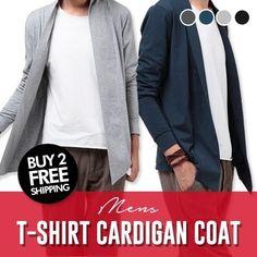 [S$15.80]Mens T-shirt cardigan coat