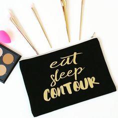 Large Makeup Bag , Black Cosmetic Pouch , Gold Wash Bag , MakeUp Bag Make-up…