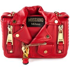Moschino small biker shoulder bag (3 095 BGN) ❤ liked on Polyvore featuring bags, handbags, shoulder bags, red, leather biker purses, genuine leather purse, real leather handbags, leather purse and moschino handbag
