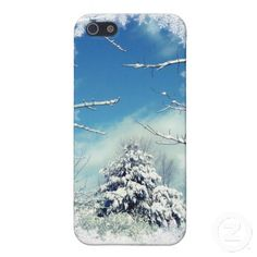 Winter Wonderland Cover For iPhone 5 ~ The storm is over and peace has gently settled over this lovely winter scene. The spruce tree has a blanket of white snow. The sky is a deep blue with puffy clouds. Snowflakes, icicles and snow covered branches frame the picture.