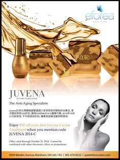 Proud to carry Juvena Anti-Aging Skincare! Enjoy $50 off your Juvena Caviar Treatment with this code. Call eforea: spa at Hilton Toronto/Markham at 905.470.8522 to book your advanced facial and body treatment.