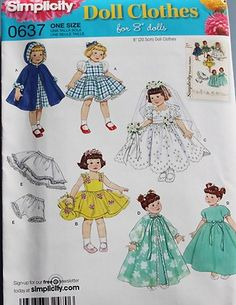 "NEW ~ SIMPLICITY ~ FITS GINNY DOLL ~ 8"" GIRL CLOTHES  ~ PATTERN ~ WEDDING DRESS+"