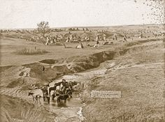 In 1891, John Grabill's camera captured this view of a Brulé Lakota tipi camp, near South Dakota's Pine Ridge Reservation, with their horses stationed at the White Clay Creek watering hole.  – Courtesy Library of Congress –