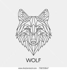 Vector. Polygonal geometric wolf head. Abstract linear isolated wolf.