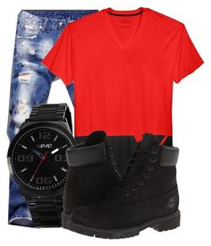 """""""Untitled #412"""" by beautifully-ambitious on Polyvore featuring Armani Exchange, August Steiner, Timberland, men's fashion and menswear"""