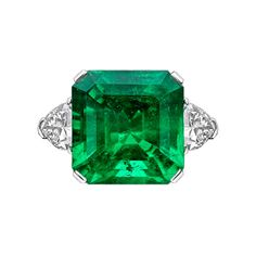 Estate Collection 15.32 Carat Colombian Emerald & Diamond Ring