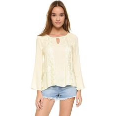 Ella Moss Valentina Long Sleeve Blouse ($160) ❤ liked on Polyvore featuring tops, blouses, natural, lace trim top, long blouses, bell sleeve tops, long white blouse and white pintuck blouse