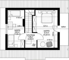 Projekt domu Sosenka drewniana 51,25 m² - koszt budowy - EXTRADOM Floor Plans, Cabin, Projects, Floor Plan Drawing, House Floor Plans