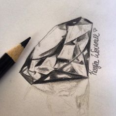 Love this sketch as an inspiration for a diamond tattoo. It's realistic without trying too hard!