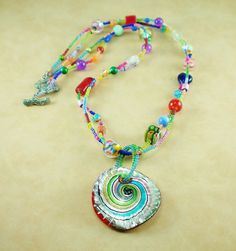 Bold and Bright Glass Necklace by DavyJonesTreasures on Etsy
