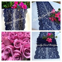 """NAVY BLUE Lace Table Runner/Wedding Decor/ 5ft-10ft x 9""""wide/ Tabletop Decor/NAVY Decor/Etsy finds/Nautical/Weddings/Free Runner by LovelyLaceDesigns on Etsy"""