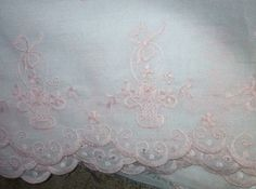 LAURA ASHLEY EMBROIDERED FABRIC WITH SCALLOPED EDGES PINK/WHITE #LauraAshley