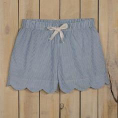 Ladies' Scallop Edge Seersucker Lounge Shorts