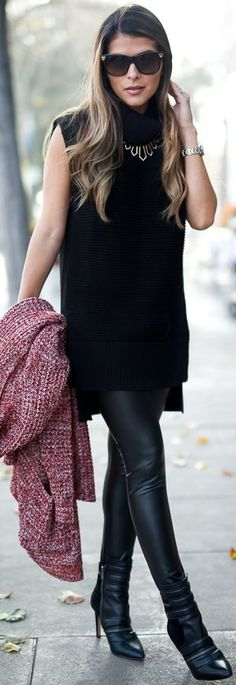 Pink Knit Coat Black Sleeveless Turtleneck Sweater Dress Black Leather Panst Black Leather Booties Fall Inspo by The Girl From Panama