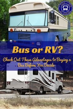 Are you thinking about buying a bus to convert instead of a motorhome? Check out the pros and cons in this post. discoveringusbus.com