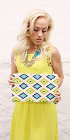 Blue and Yellow Ikat Clutch READY TO SHIP by mojospastyle on Etsy