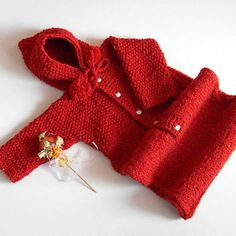 Hand Knit Baby Bodysuit / Red Hooded  Romper /  Winter Wool Onesuit /  6-9 Months /  Long Sleeves / Baby Photo Props / Ready To Ship