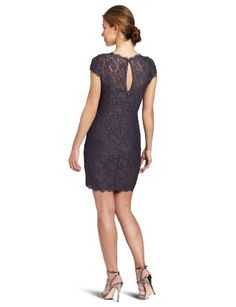 Amazon.com: Adrianna Papell Women's Cap-Sleeve Stretch-Lace Dress: Clothing