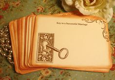 Key to a Successful Marriage~ Wedding Advice Cards  By A Sweet Little Note