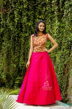 www.varunajithesh.com Indian Frocks, Indian Dresses, Indian Skirt, Raw Silk Lehenga, Lehenga Blouse, Saree Dress, Lehenga Choli, Sarees, The Dress