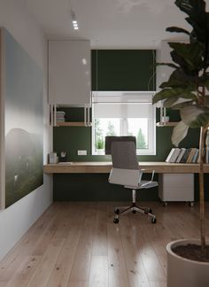 Our home office was completely executed in fresh, clean colors. Have created such a space in which it will be easy and cozy. In this office, its easy to concentrate on your work. There are no unnecessary details and things that will distract you from wor… Home Office Layouts, Home Office Space, Home Office Design, Home Office Decor, House Design, Home Decor, Office Ideas, Interior Design Living Room Warm, Study Room Decor