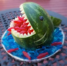 #watermelon #shark with #swedishfish and #blue #jello | great for an #ocean themed party or #barbeque!