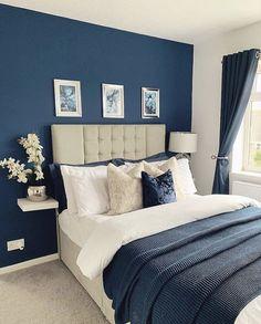 Blue Master Bedroom, Master Bedroom Makeover, Home Bedroom, Bedroom Interior, Small Master Bedroom, Master Bedrooms Decor, Navy Bedrooms, Bedroom Color Schemes, Master Bedroom Colors