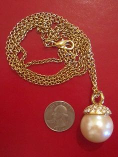 Pendant Necklace Vintage Retro Large Pearl Topped w Gold and Crystals