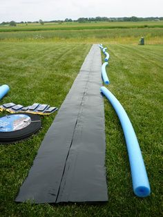 make you own giant slip-n-slide with heavy duty plastic, pool noodles, and a sprinkler or hose.