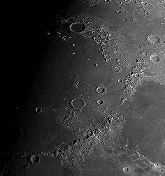 Sunrise at Mare Imbrium, major features: - Montes Alpes, Vallis Alpes, Montes Caucasus, Montes Apenninus. Craters Plato, Archimedes & Eratosthenes
