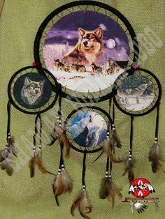 Dreamcatcher Escudo Indígena Lobo Totem Alcatéia