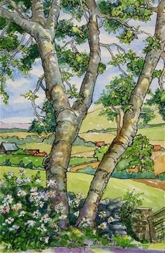 """""""Just Over the Fence Storybook Cottage Series"""" - Original Fine Art for Sale - © Alida Akers Storybook Cottage, Cottage Art, Draw On Photos, Watercolor Trees, Naive, Art Drawings, Scenery, Illustration Art, Images"""