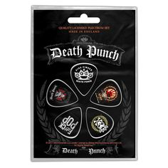 Five Finger Death Punch, Logos Plectrum Set Five Fingers, Band Logos, Guitar Picks, Punch, Death, Star, Red, Stars, Alcoholic Punch