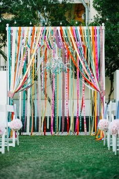 Colorful wedding altar or multicolored ribbons. We would do this as a simple arch, and not a 4 post chuppah. Toller Traubogen mit bunten Flatterbändern im angesagten Tie Diy Stil Wedding Arbors, Wedding Canopy, Wedding Ceremony, Wedding Streamers, Trendy Wedding, Unique Weddings, Diy Wedding, Colorful Weddings, Wedding Ideas