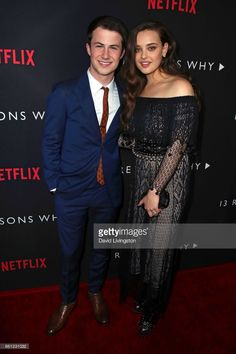 Actors Dylan Minnette (L) and Katherine Langford attend the premiere of Netflix's '13 Reasons Why' at Paramount Pictures on March 30, 2017 in Los Angeles, California.