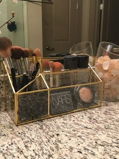 Best idea ever.. Target gold desk organized becomes my makes up organizer!