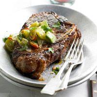 Chili-Rubbed Bone-In Strip Steaks Recipe