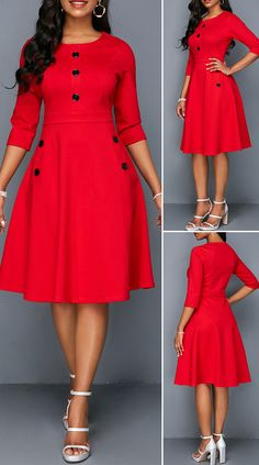Button Embellished Red Pocket A Line Dress HOT SALES beautiful dresses, pretty dresses, holida Simple Dresses, Elegant Dresses, Pretty Dresses, Sexy Dresses, Beautiful Dresses, Women's A Line Dresses, Mini Dresses, African Wear Dresses, Latest African Fashion Dresses
