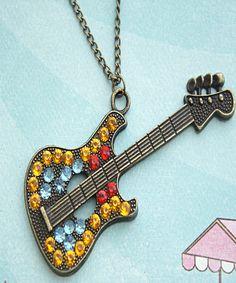retro guitar necklace