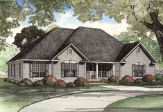 Alternate Exterior Available - 59805ND | 1st Floor Master Suite, Bonus Room, CAD Available, Corner Lot, Den-Office-Library-Study, MBR Sitting Area, PDF, Southern, Traditional | Architectural Designs