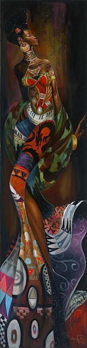 Sankofa - 11x47 giclee on canvas - Frank Morrison
