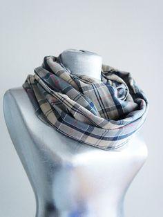 Handmade Tartan Infinity Scarf  Cotton Flannel  Beige Gray by Urbe, $20.00