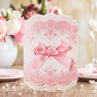 Lace Flower Pink Color Wedding Invitation Card With Pink Ribbon