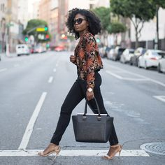 Niké - LA Winters :: Mixed Print Blazer & Leather Pants