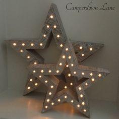 Hollow LED Wooden Star Light