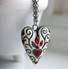 Ceramic White Black and Red Heart Pendant necklace Free by KCMisMe, $25.00