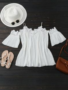 SHARE & Get it FREE | Cold Shoulder Flare Sleeve Lace Plead Top - WhiteFor Fashion Lovers only:80,000+ Items • New Arrivals Daily Join Zaful: Get YOUR $50 NOW!