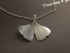 ginkgo biloba leaf in sterling silver by calcagninigioielli