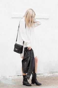 Shirtdress, Proenza bag, leather jacket & boots #style #fashion